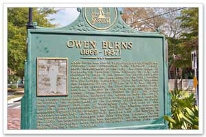 Sarasota History - Owen Burns Historical Marker and Burns Court Herald Square photo